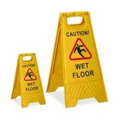 "relaxdays 2 x waarschuwingsbord ""Caution Wet Floor"" - klapbaar - gladde vloer bord - geel"