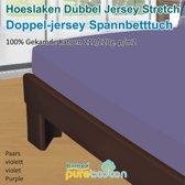Homéé - Hoeslaken Double dik jersey stretch 210g. p/m2 100% katoen - Paars - 90/100x200 +30cm