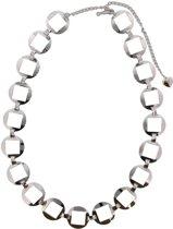 Chain Belt Cirkels en Vierkanten - Tailleriem / Heupriem - Metaal - Lengte Verstelbaar 80-100 cm - Zilverkleurig - Dielay