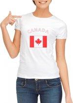 Wit dames t-shirt met vlag van Canada S