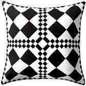Kussen, sierkussen, geometrisch patroon, zwart/wit, 45x45 cm