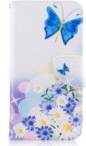 Huawei P10 Lite Leren Portemonnee Hoesje Blauwe Vlinders