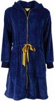 Fleece dames badjas met capuchon en rits-Blauw-H11.