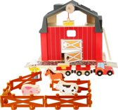 Boerderijdieren Speelgoed 19-Delig Garage | Speelgoedgarage Houten Speelset| Motoriek- En Leerspeelgoed Stimuleert De Ontwikkeling | Boerderij Speelfigurenset  Van Hout | Mijn Eerste Parkeergarage | My First Wooden Animal Farm +3 Jaar