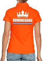 Koningsdag poloshirt met kroon oranje voor dames S