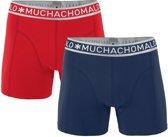 Muchachomalo Solid Heren Boxershorts - 2 pack - Grafiet blauw/Rood - Maat S