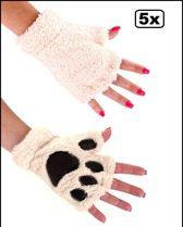 5x Paar Vingerloze handschoenen pluche dierenpootje ecru