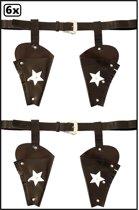 6x Holster cowboy met sterren bruin voor volwassenen