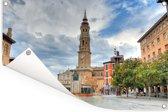 Het centrum van Zaragoza met kathedraal in Spanje Tuinposter 120x80 cm - Tuindoek / Buitencanvas / Schilderijen voor buiten (tuin decoratie)