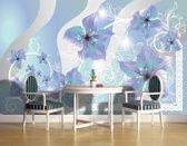 Fotobehang Bloemen | Grijs, Blauw | 152,5x104cm