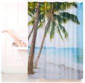 relaxdays douchegordijn strand - badkamer gordijn 180 x 180 cm - anti-schimmel - beach
