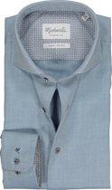 Effen blauw Michaelis shirt met donkere knoop