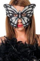 Feestbeest.nl Masker vlinder groot zilver