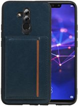 Navy Staand Back Cover 1 Pasjes voor Huawei Mate 20 Lite