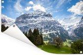 De Zwitserse Jungfrau bij de Eiger Tuinposter 60x40 cm - klein - Tuindoek / Buitencanvas / Schilderijen voor buiten (tuin decoratie)