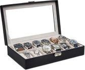 Horlogebox / horlogedoos - 12 horloges - zwart