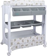 Commode, verzorgingstafel en wastafel 3-in-1 - verrijdbaar - baby aankleedkussen + verhoogd babybad + badzitje + kledingkast