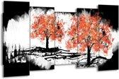 Canvas schilderij Bomen | Oranje, Zwart, Wit | 150x80cm 5Luik