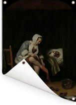Het morgentoilet - Schilderij van Jan Steen Tuinposter 120x160 cm - Tuindoek / Buitencanvas / Schilderijen voor buiten (tuin decoratie) XXL / Groot formaat!