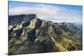 Luchtfoto van de Tafelberg in Kaapstad Aluminium 180x120 cm - Foto print op Aluminium (metaal wanddecoratie) XXL / Groot formaat!