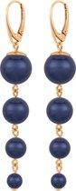 ARLIZI 1339 Pareloorbellen - Dames - 925 Sterling Zilver Roséverguld - 7 cm - Blauw
