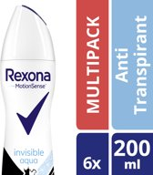 Rexona Women Anti-transpirant Spray Invisible Aqua 200 ML 6 stuks