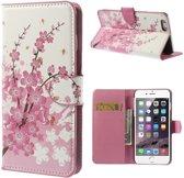 Shop4 - iPhone 6 Plus / 6s Plus Hoesje - Wallet Case Bloesem