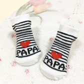 JillyBee - Baby Sokjes - Sokjes - Sokken  - Papa - Newborn - Wit - Zwart - Gestreept