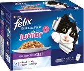 FELIX Elke Dag Feest Junior Mix Selectie - Kattenvoer - 4 x (12 x 100) g