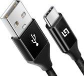 LifeGoods USB-C Data- en Laadkabel - 2.4A Snellader Kabel - Fast en Quick Charge Oplaadkabel - Type C Naar USB-A - Oplaadsnoer Telefoon - Laptop - Samsung Galaxy en Note S7/8/9 - Sony - OnePlus - Gevlochten Nylon – Zwart – 2 Meter
