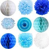 Luxe Geboorte Versiering Jongen Blauw - Papieren PomPoms Honeycomb Waaier incl. Kleefhaakjes en Lint - XXL pakket (23-delig)