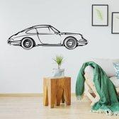 Muursticker Porsche -  Zwart -  80 x 23 cm  - Muursticker4Sale