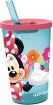 Stor Drinkbeker Met Rietje Minnie Mouse Roze/blauw 450 Ml