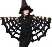 Halloween - Zwarte spinnenweb cape voor volwassenen