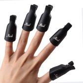 Nagellak Remover Clips, Soak off Clips Nagellak Remover Clips (10 stuks) Ideaal voor het verwijderen van soak off gellak of glitter nagellak - zwart