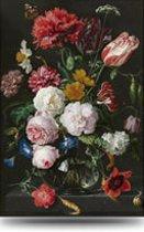 Schilderij Bloemen in Vaas - Rijksmuseum - Glas -extra groot - 80x120 cm