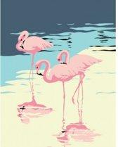 Schilder op Nummer Flamingo's afm: 16,5x13 cm