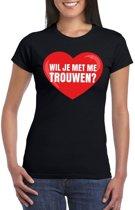 Huwelijksaanzoek t-shirt Wil je met me trouwen zwart dames L