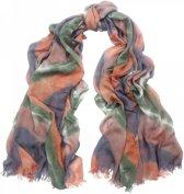 Sjaal groen - bruin met groot ruitmotief