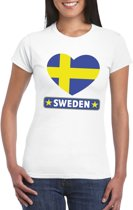 Zweden hart vlag t-shirt wit dames S