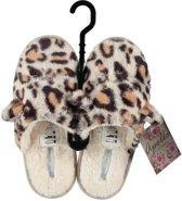 Instap sloffen/pantoffels luipaard met oortjes voor dames - Bruin/creme slippers voor dames 37-38