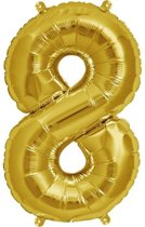Folie Ballon Cijfer 8 Goud 100cm - leeg