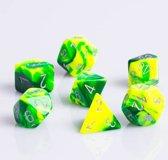 Chessex Polydice 7 Dobbelstenenset Gemêleerd Groen Geel met Zilver