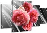 Canvas schilderij Roos | Grijs, Roze | 160x90cm 4Luik