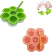 Babyvoeding bewaarbakjes - moedermelk bewaren - borstvoeding - siliconen diepvriesbakjes - babyhapjes maken - Baby lepels - BPA vrij