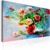 Handgeschilderd schilderij - Boeket rozen, stilleven
