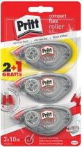 Pritt Correctieroller - Compact formaat - Flexibele Kop - 3x10meter - 2+1 gratis - Correctie Roller