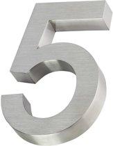 3D huisnummer van RVS | Hoogte 20cm | Gratis verzending en 5 jaar garantie | Nummer 5