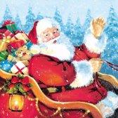 Kerst servetten kerstman thema 20 cm - wegwerpservetten