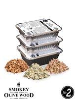 Smokey Olive Wood - Houtsnippers - Olijfhout - Amandelhout - Sinaasappelhout - 3X 400ml - Chips medium ø 5mm-1cm